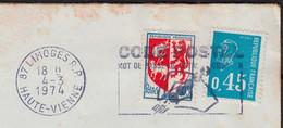Blason AUCH Y.et.T.1468 + Mne De Béquet Bleu Y.et.T.1663 Sur Enveloppe Coupée Sur 2 Cotés De 87 LIMOGES Le 4 8 1974 - Briefe U. Dokumente