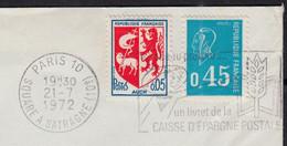 Blason AUCH Y.et.T.1468 + Mne De Béquet Bleu Y.et.T.1663 Sur Enveloppe Coupée Sur 2 Cotés De 75 PARIS 10 Le 21 7 1972 - Briefe U. Dokumente