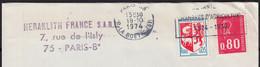 Blason AUCH Y.et.T.1468 + Mne De Béquet 80c Rouge Y.et.T.1816 Sur Enveloppe à En-tete PUB De 75 PARIS 08 Le 18 10 1974 - Briefe U. Dokumente