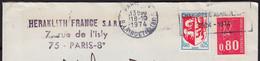 Blason AUCH Y.et.T.1468 + Mne De Béquet 80c Rouge Y.et.T.1816 Sur Enveloppe à En-tete PUB De 75 PARIS 08 Le 13 10 1974 - Briefe U. Dokumente