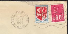 Blason AUCH Y.et.T.1468 + Mne De Béquet 80c Rouge Y.et.T.1816 Sur Enveloppe Coupée 2 Cotés De 94 CHARENTON Le 27 7 1976 - Briefe U. Dokumente