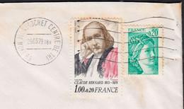 Claude BERNARD 1.00f+20c Y.et.T.1990A + Sabine De GANDON 20C Num 1967 Sur Enveloppe De 69 LYON Le 29 3 1979 - Briefe U. Dokumente