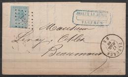 L. Affr. N°18 Lpts 128 Càd FLEURUS /17 AVRIL 1868 Pour BEAUMONT (au Dos: Càd BEAUMONT) - 1865-1866 Profil Gauche