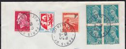 MERCURE 50c Turq  Y.et.T.538 BLOC De 4 + AUCH 1468 + M.de Cheffer 1536B + Tuberc 750 Sur Enveloppe De PARIS Le 18 6 1971 - Briefe U. Dokumente