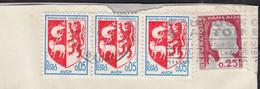 """Blason AUCH Y.et.T.1468 """" BANDE De 3 """" + Mne De DECARIS Y.et.T.1263 Sur Enveloppe Fenetre Coupée Sur 2 Cotés PARIS 1970 - Briefe U. Dokumente"""