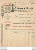 COLOMBIÉ CADET A CASTRES ............. FACTURE  DE  1915 - 1900 – 1949