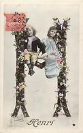 Themes Div Ref GG462- Enfants -surrealisme -lettre Alphabetique Fleurie - Alphabet - Lettre M - Prenoms - Prenom Henri- - Zonder Classificatie
