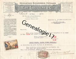75 26808 PARIS SEINE 1918 Decolletage Boulonnerie P. DE LOUVIGNY Rue Folie Mericourt -  Ajouti FOIRE DE PARIS Timbre - 1900 – 1949