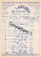 75 26834 PARIS SEINE 1955 Manufacture De Sacs R. LABOURIER Rue Boyer - 1900 – 1949
