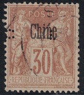 CHINE - SAGE - 30c BRUN - N°9 - SURCHARGE NOIRE - OBLITERE - PERFORATION CL - DU CREDIT LYONNAIS . - Used Stamps