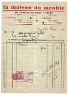 Facture De 1938 LA MAISON DU MEUBLE Tapisserie Literie Décoration 60 Av De Grammont à TOURS Tél 32 99 - 1900 – 1949