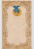 """10221 """"LETTERINA DI NATALE - GESU' BAMBINO - 1880"""" IMMAGINE RELIGIOSA IN CROMOLIT., BORDI MERLETTATI IN ORO, IN RILIEVO - Otros"""