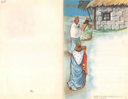 """10225 """"LETTERINA DI NATALE - I RE MAGI - 1950"""" IMMAGINE IN CROMOLIT., POP-UP TRA LA 1° E 3° PAGINA, SACRA FAMIGLIA - Otros"""