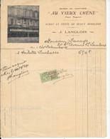 """Facture 1924 - """"AU VIEUX CHENE"""" Place Magenta à NICE - J.LANGLOIS -ACHAT VENTE DE BEAUX MOBILIERS Décorée Photo Magasin - 1900 – 1949"""