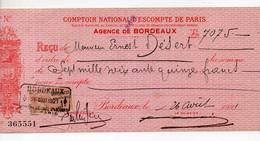 Bordeaux Reçu  1921 Du Comptoir National D'escompte  Avec Timbre Fiscal (PPP32678) - 1900 – 1949