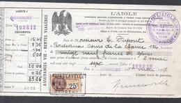Bordeaux Reçu  1927 De La Compagnie D'assurances L'AIGLE Avec Timbre Fiscal 25c  (PPP32680) - 1900 – 1949