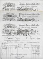3 Factures 1903/06 Henri CRESP à GRASSE -Fabrique De SAVONS & D'HUILE D'OLIVE,FLEURS D'ORANGER -Moulin à Huile Lithograp - 1900 – 1949