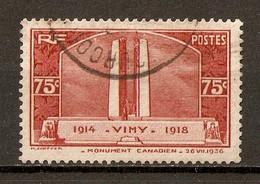 1936 - Inauguration Monument De Wimy 14-18 Soldats Canadiens 75c. Rouge-brun N°316 - Oblitérés
