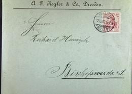 DR: Brief Mit 10 Pf Germania Vom 2.12.1902 Von A. F. Kegler & Co. Dresden An R. Hanisch, Bischofswerda (Sa.) Knr: 71 - Brieven En Documenten