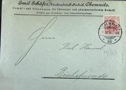 DR: Brief Mit 10 Pf Germania 4.10.1904 Von Emil Schäfer, Verbandsstoff-Fabrik, Chemnitz An Hanisch, Bischofswerda Knr:71 - Brieven En Documenten