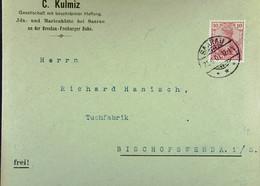 DR: Brief Mit 10 Pf Germania 21.6.1901 Von C. Kulmiz, Ida- U Marienhütte Bei Sarau An Der Breslau-Freiburger Bahn Knr:56 - Brieven En Documenten