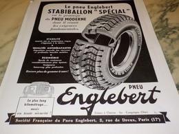 ANCIENNE PUBLICITE PNEU ENGLEBERT  STABIBALLON 1939 - Sonstige