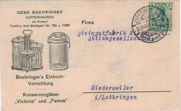 Illustrierte Karte - Perfin B.Z. Boehringer Zuffenhausen Einkoch-Vorrichtung Konservengläser Viktoria Famos > Lothringen - Brieven En Documenten