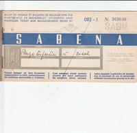 SABENA  TICKET D,AVION BARCELONE-BRUXELLES  31 MAI 1952 - Tickets
