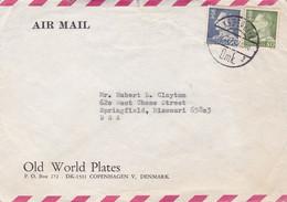OLD WORLD PLATES. DANEMARK ENVELOPPE COMMERCIAL, PAR AVION. CIRCULEE 1971, KOPENHAGEN A SPRINGFIELD USA.- LILHU - Briefe U. Dokumente