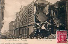 Cpa VALPARAISO Despues Del Terremoto - Edificio En La Gran Avenida - Chili