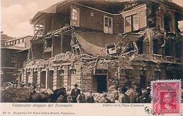 Cpa VALPARAISO Despues Del Terremoto - Edificio En La Plaza Echaurren - Chili
