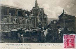 Cpa VALPARAISO Despues Del Terremoto - Coléjio E Iglesia De Los Padres Franceses - Chili