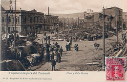 Cpa VALPARAISO Despues Del Terremoto - Plaza Y Calle Victoria - Chili