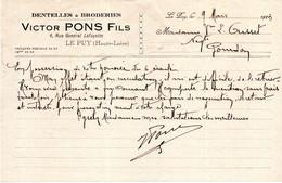 Le Puy 43 - Document Dentelles Et Broderies Victor Pons Fils  Du 09/07/1923 Pour Mr Ousset Négociante à Gourdon (Lot ) - 1900 – 1949