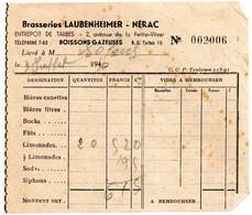 Facture - Brasseries Laubenheimer De  Nérac De 1940 Boissons Gazeuses - 1900 – 1949
