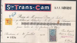 Bordeaux (33 Gironde) Reçu SOCIETE TRANS-CAM 1922 Avec Timbre Fiscal 25c (PPP32685) - 1900 – 1949
