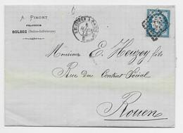 N° 60 LETTRE ENTETE A PIMONT FILATEUR BOLBEC SEINE INFERIEURE  LOSANGE AMBULANT LE HAVRE A PARIS C 1874 - 1849-1876: Période Classique