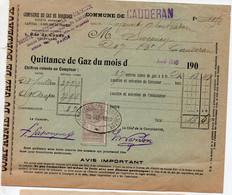 Caudéran (33 Gironde)  Quittance De Gaz  1910 Avec Timbre Fiscal 10c (PPP32687) - 1900 – 1949