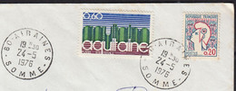 Mne De Cocteau 20c Y.et.T.1282 + Aquitaine 60c Y.et.T.1864 Sur Enveloppe De 80 AIRAINES  Le 24 5 1976 - Briefe U. Dokumente