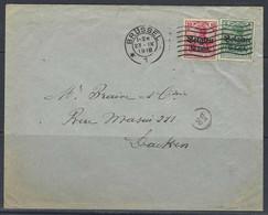 "Enveloppe - Duitsland, Bezetting België, 10Pf + 5Pf Surch. ""Belgien 10 + 5 Centiem Houyet"" >> Brussel 23/09/1918. - Brieven En Documenten"