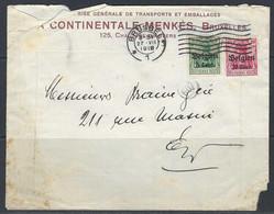 "Enveloppe - Duitsland, Bezetting België, 10Pf + 5Pf Surch. ""Belgien 10 + 5 Centiem Houyet"" >> Brussel 27/07/1918. - Brieven En Documenten"