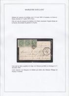 3 X N° 30 SUR PETITE PETITE ENVELOPPE (faire-part) OBLITERATION LOS 217 + PD VERS LA FRANCE POUR LA MARQUISE DE SAILLANT - 1869-1883 Leopoldo II
