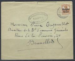 "Enveloppe, Duitsland, Bezetting België 15Pf Surch. ""Belgien 15 Centiem Houyet"" >> Brussel 12/01/1917, Freigegeben Dinant - Brieven En Documenten"