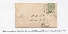 N° 56 SUR LETTRE OBLITERE HAELEN-LEZ-DIEST POUR FRANÇOIS DE LALIEUX DE LA ROCQ AU CHÂTEAU DE MIREMONT A FELUY - 1893-1907 Stemmi
