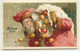 N°15544 - Joyeux Noël - Père Noël Portant Un Sac Plein De Pommes - Otros