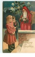 N°15538 - Carte Gaufrée - Merry Christmas - Enfants Près D'un Père Noël - Otros