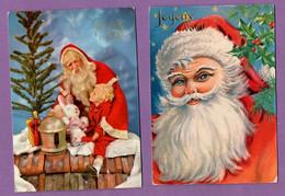 Joyeux Noel  Pere Noel Cheminée - Houx Carte Postale  Ecrite 15 Cm Par 10.5 Cm - - Otros