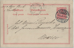 Germany 1901 Stat Card 10 Pf, ALTONA Cancel To MEXICO Via NEW YORK + LAREDO - Brieven En Documenten