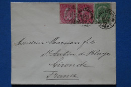 AE 8 BELGIQUE  BELLE LETTRE  1888   GAND  POUR   SAINT  AUBIN DE BLAYE + PAIRE DE TP + + AFFRANCH. PLAISANT - Non Classificati