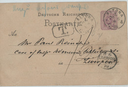 Germany 1879 Stat Card 5 Pf, ALTONA Cancel To LIVERPOOL/UK, Underpaid+taxed - Brieven En Documenten